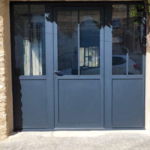 Porte d'entrée en 3 parties (châssis composé) en aluminium
